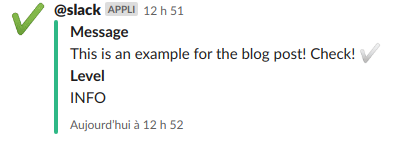 A Symfony application info displayed in Slack