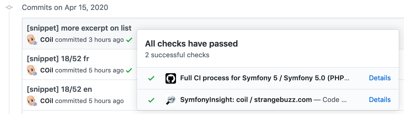The global check by commit